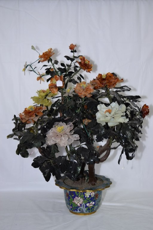 Large Chinese Agate and Jade Tree