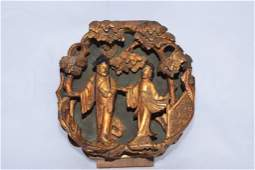 Qing Chinese Gold Painted High Relief Wood Carving