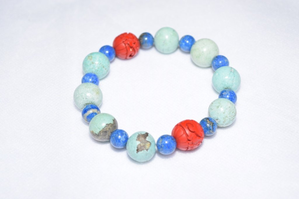 Natural Turquoise, Lapis, and Cinnabar Bracelet