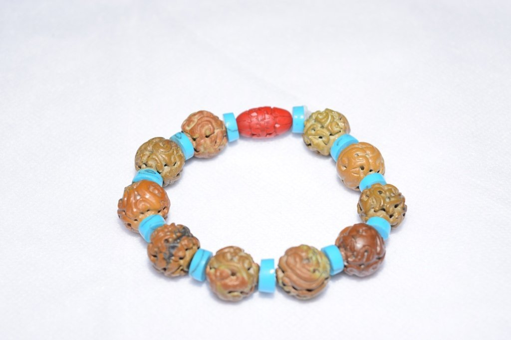 Natural Carved Turquoise and Cinnabar Bracelet