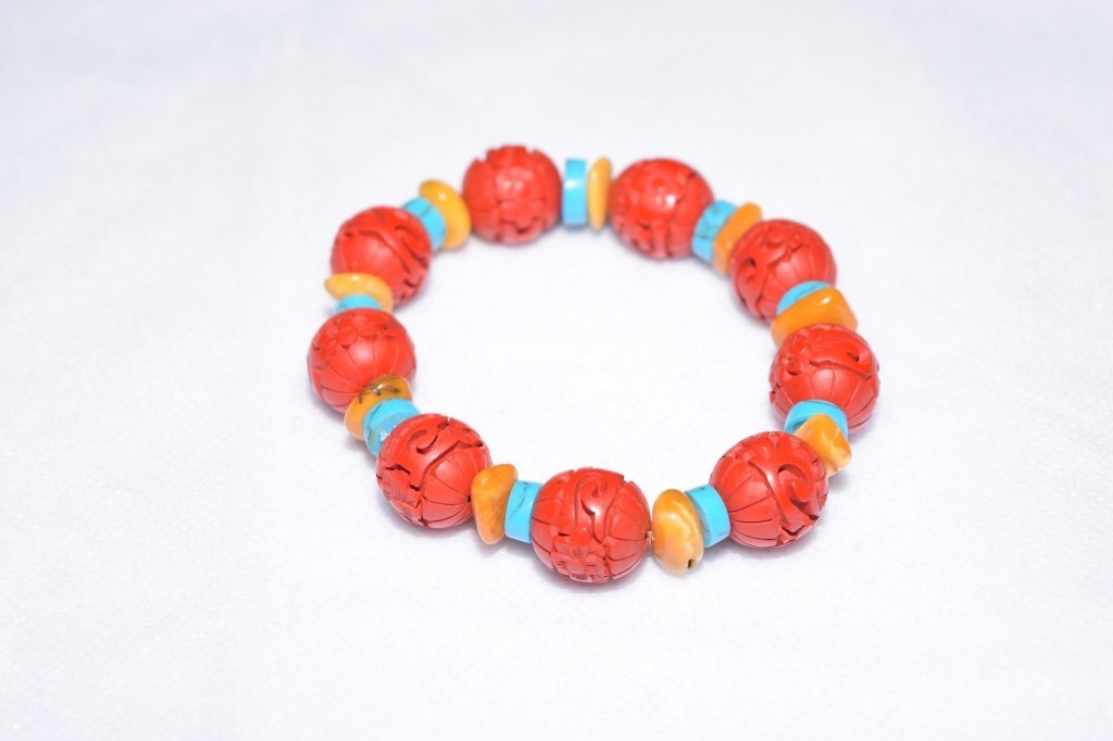 Natural Turquoise, Amber, and Cinnabar Bracelet