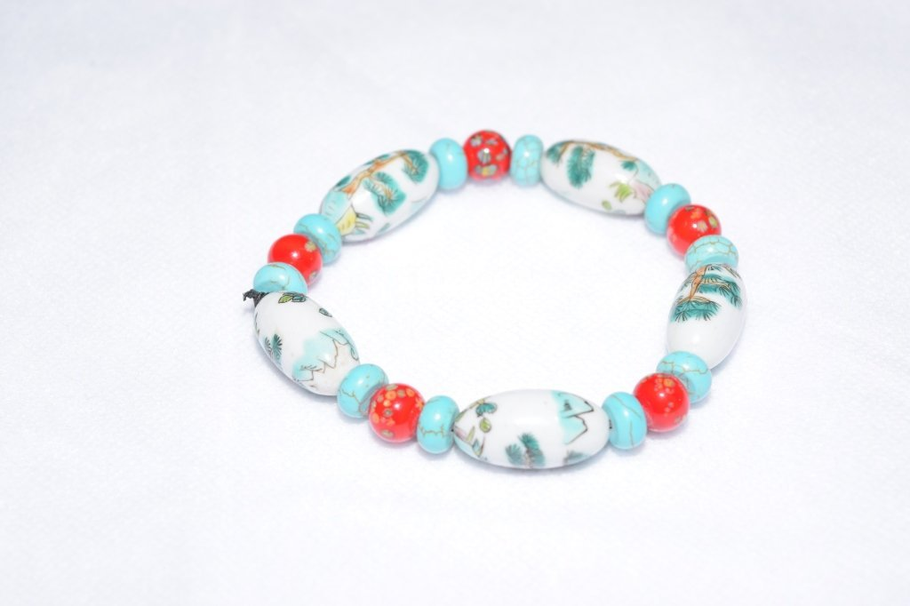 Chinese Porcelain and Glass Bracelet