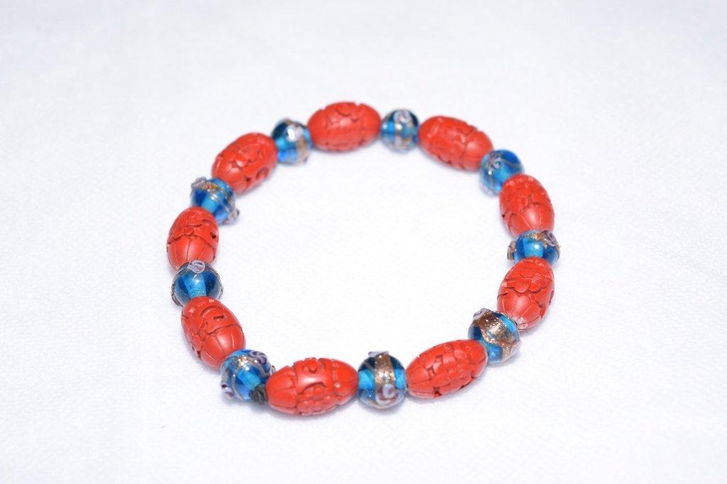 Cinnabar and Glass Bead Bracelet
