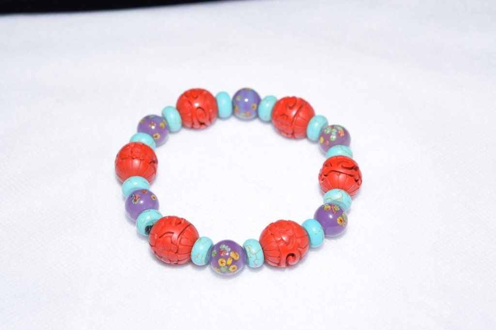 Cinnabar, Glass, and Turquoise Bracelet