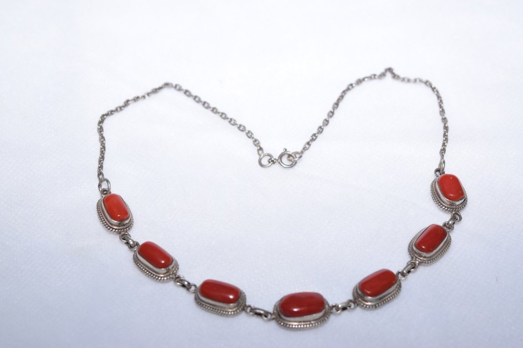 Natural Coral and Silver Necklace