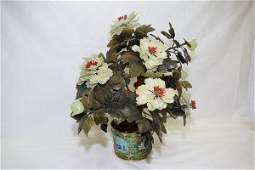Chinese Jade Tree in Cloisonne Planter