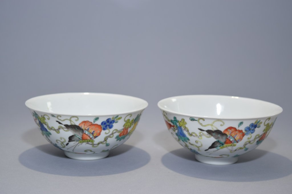 Pair of Republic Period Chinese Famille Rose Bowls