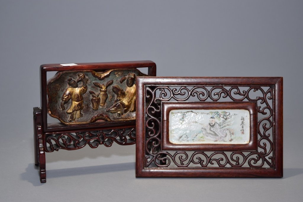 Republic Chinese Porcelain and Wood Plaques