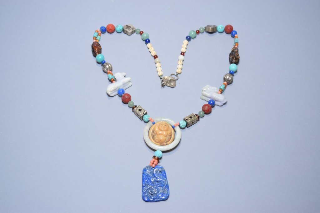 Chinese Jadeite, Lapis Lazuli, Turquoise Necklace
