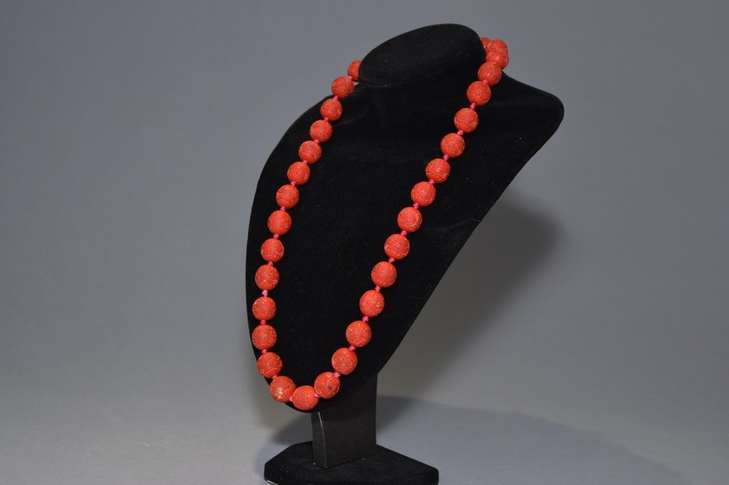 Chinese Cinnabar Carved Longevity Bead Necklace