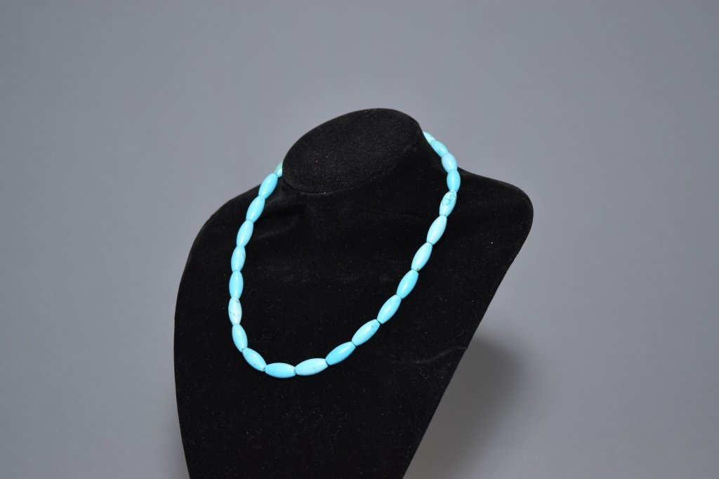 Natural Turquoise Elongated Bead Necklace