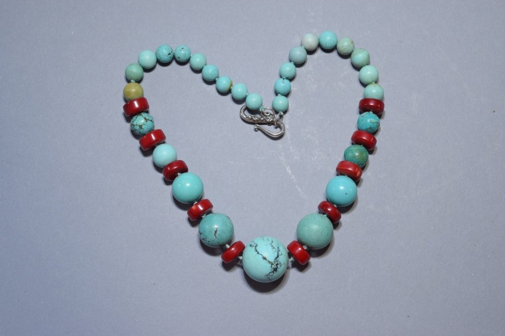 Natural Turquoise and Coral Bead Necklace
