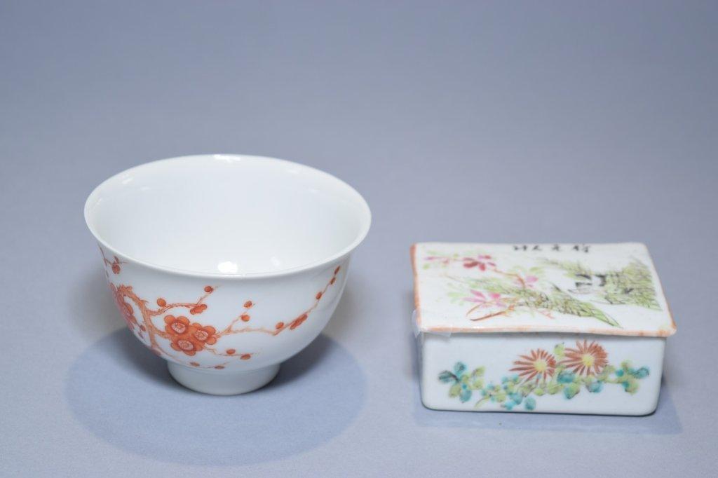 Republic Chinese Famille Verte Box & Iron Red Bowl