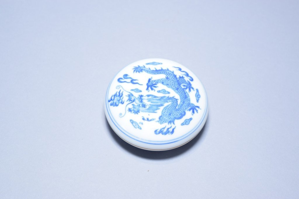 Chinese Blue and White Stamp Ink Box with Ink