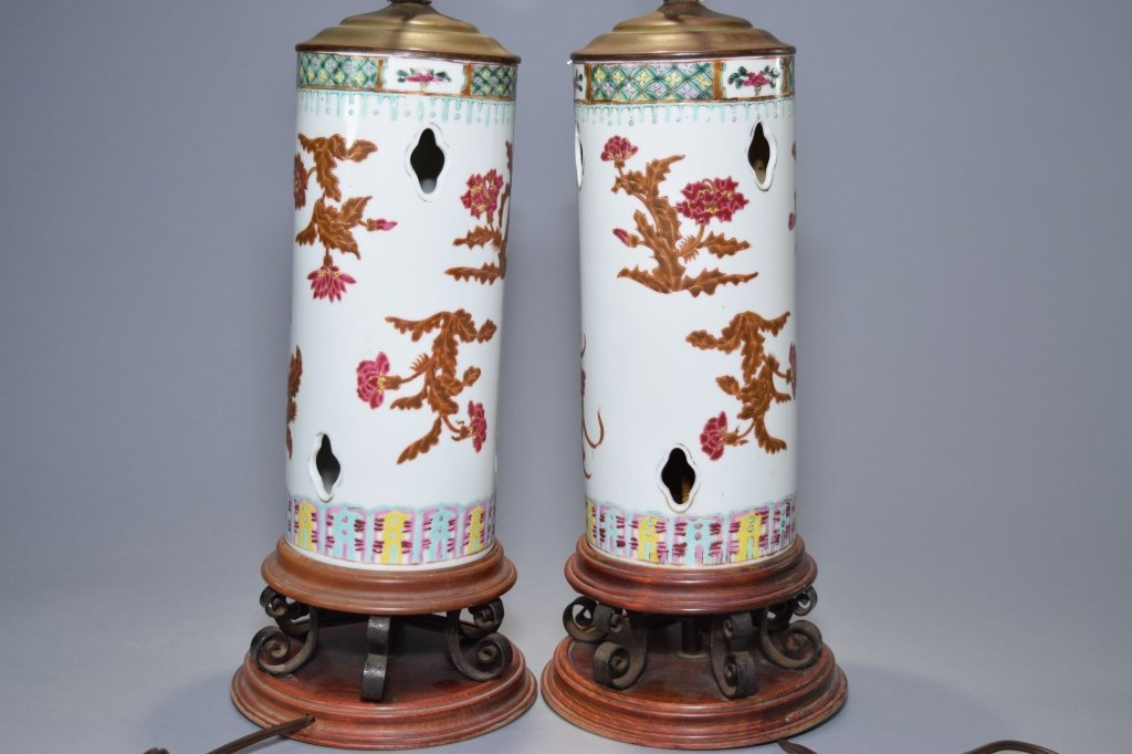 Pair of 19th C. Chinese Famille Rose Lamps