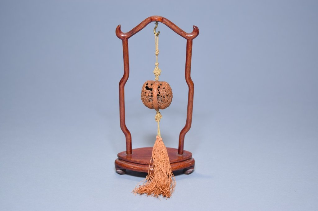 Chinese Walnut Shell Carving on Stand