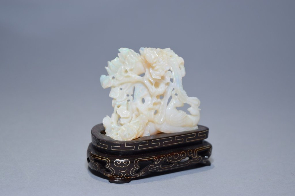Chinese Opal Carving on Stand