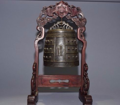 Qianlong Chinese Bronze Bell on Stand, Marked