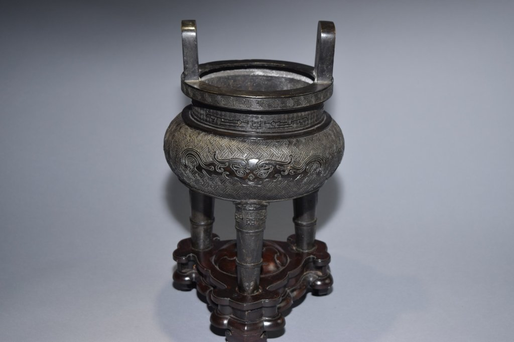 19th C. Chinese Bronze Three-Footed Censer