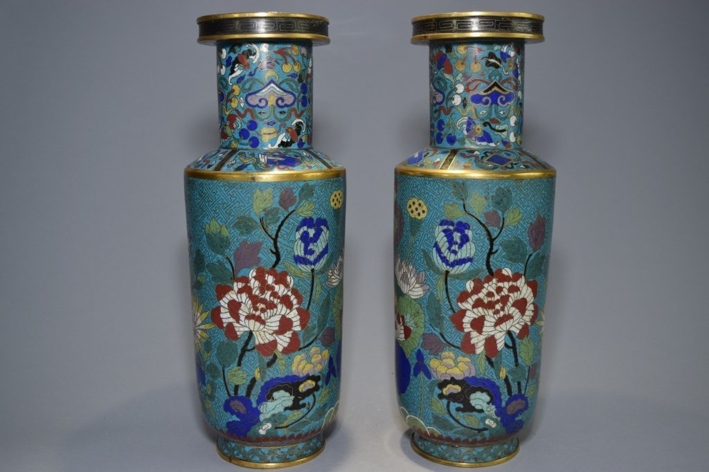 Pair of 18th C. Chinese Cloisonne Vases