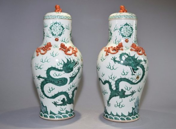 Pair of 19th C. Chinese Famille Rose Covered Vases