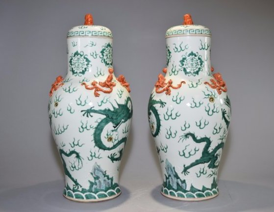 Pair of 19th C. Chinese Famille Rose Covered Vases - 2