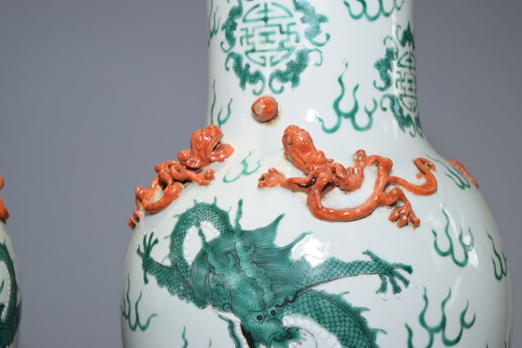 Pair of 19th C. Chinese Famille Rose Covered Vases - 3