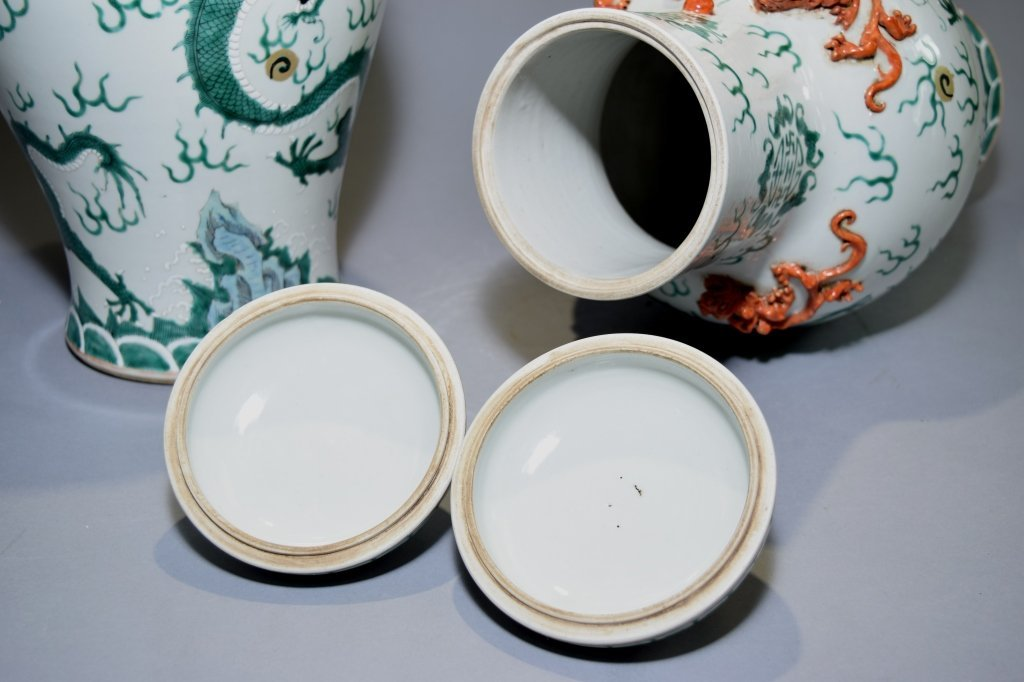 Pair of 19th C. Chinese Famille Rose Covered Vases - 4