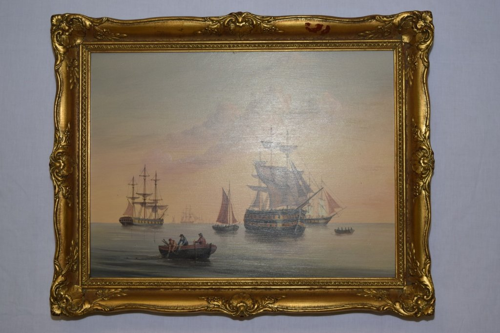 Fine Nautical Marine Painting on Board, Unsigned