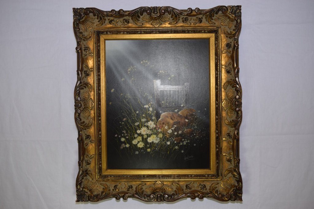 Flowers and Chair on Canvas, signed Jenkins
