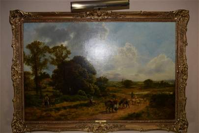 Fine Antique Landscape on Canvas, signed J. Peel