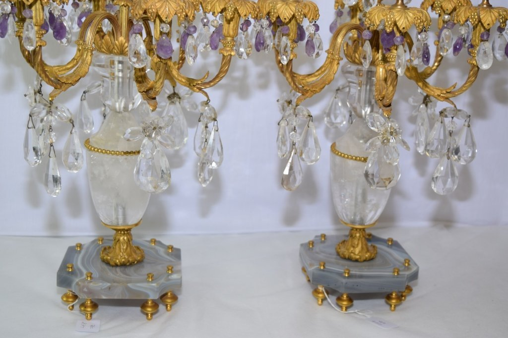Pair of Antique French Natural Crystal Candelabra - 3