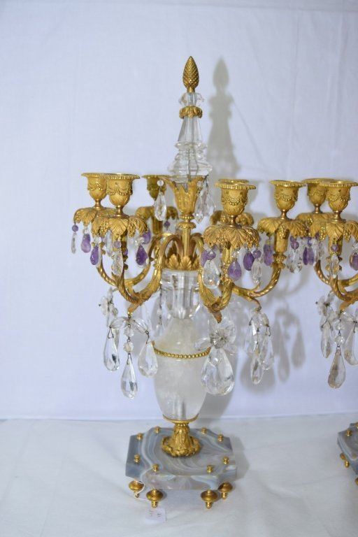 Pair of Antique French Natural Crystal Candelabra - 4