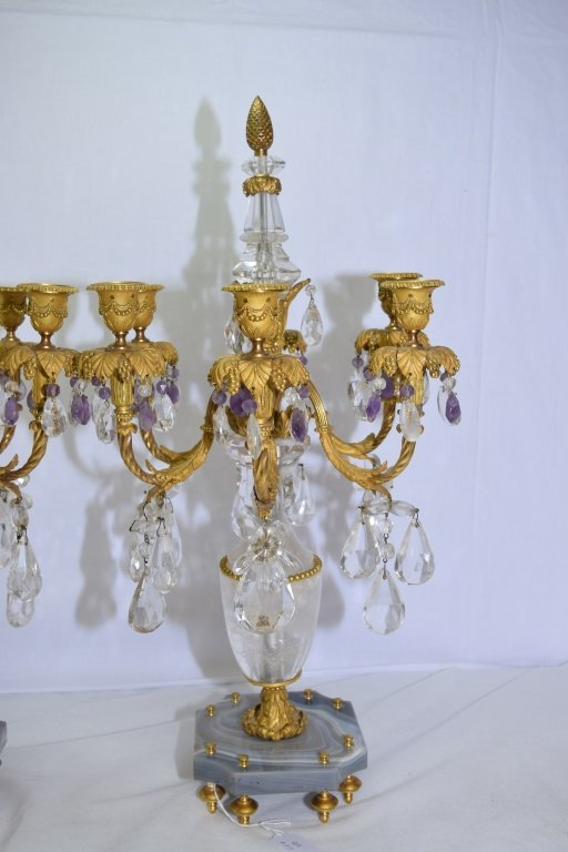 Pair of Antique French Natural Crystal Candelabra - 5
