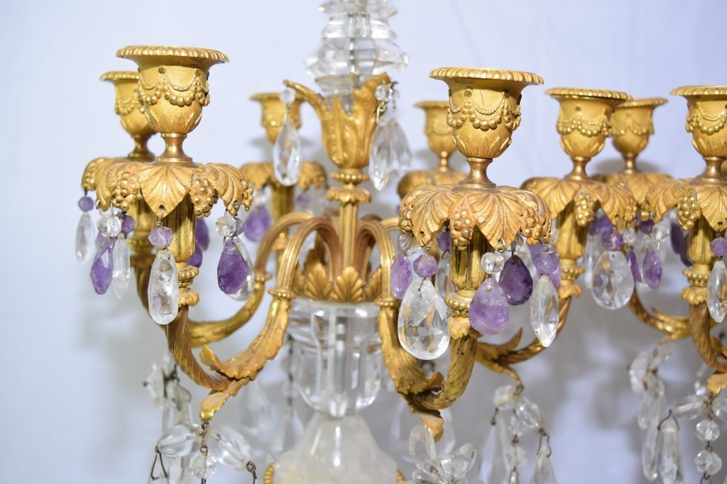 Pair of Antique French Natural Crystal Candelabra - 6