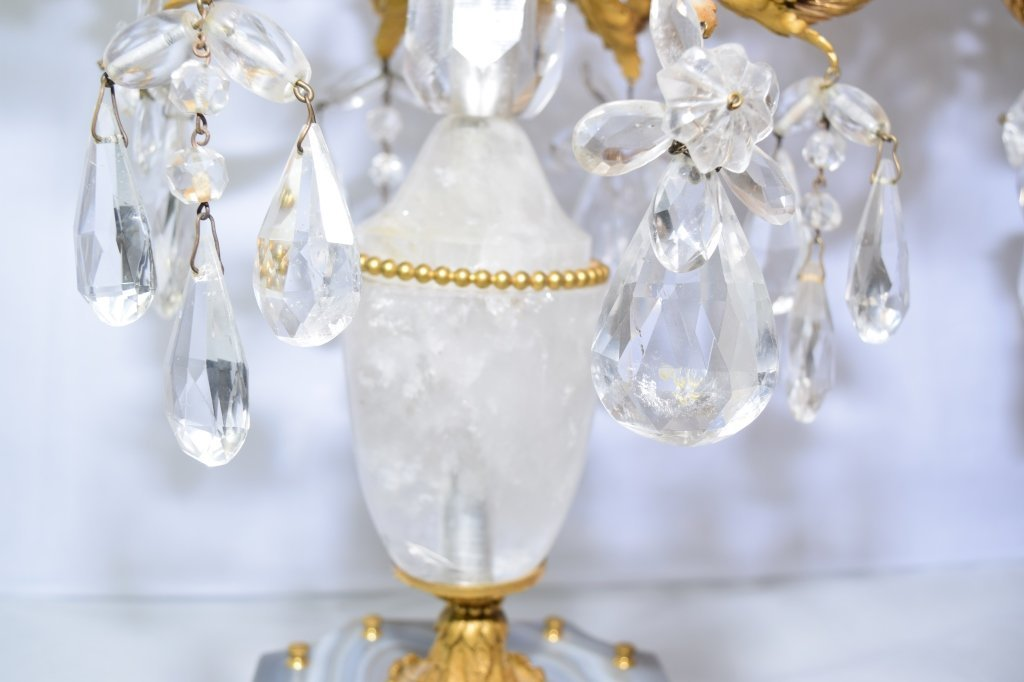 Pair of Antique French Natural Crystal Candelabra - 7