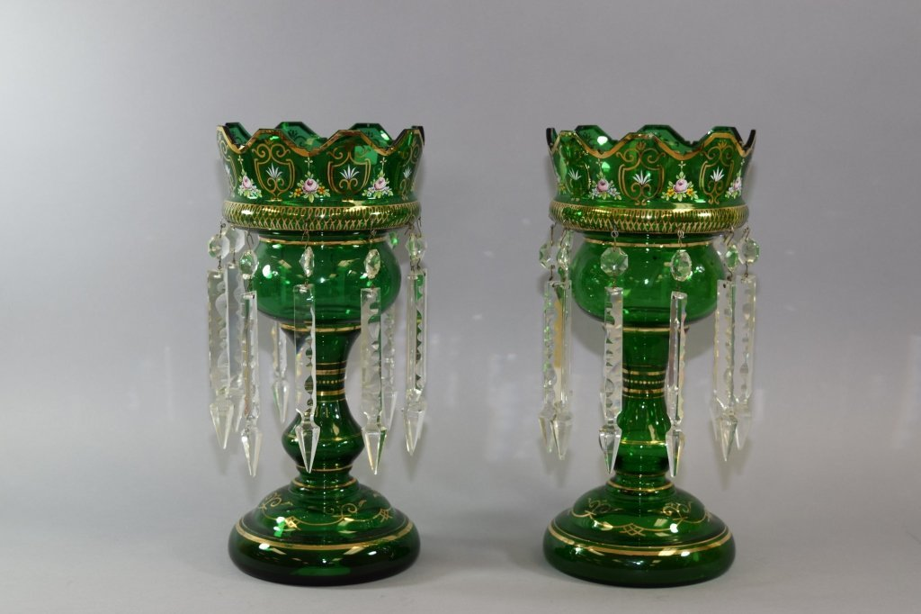 Pair of Green Bohemian Mantle Lusters with Prisms