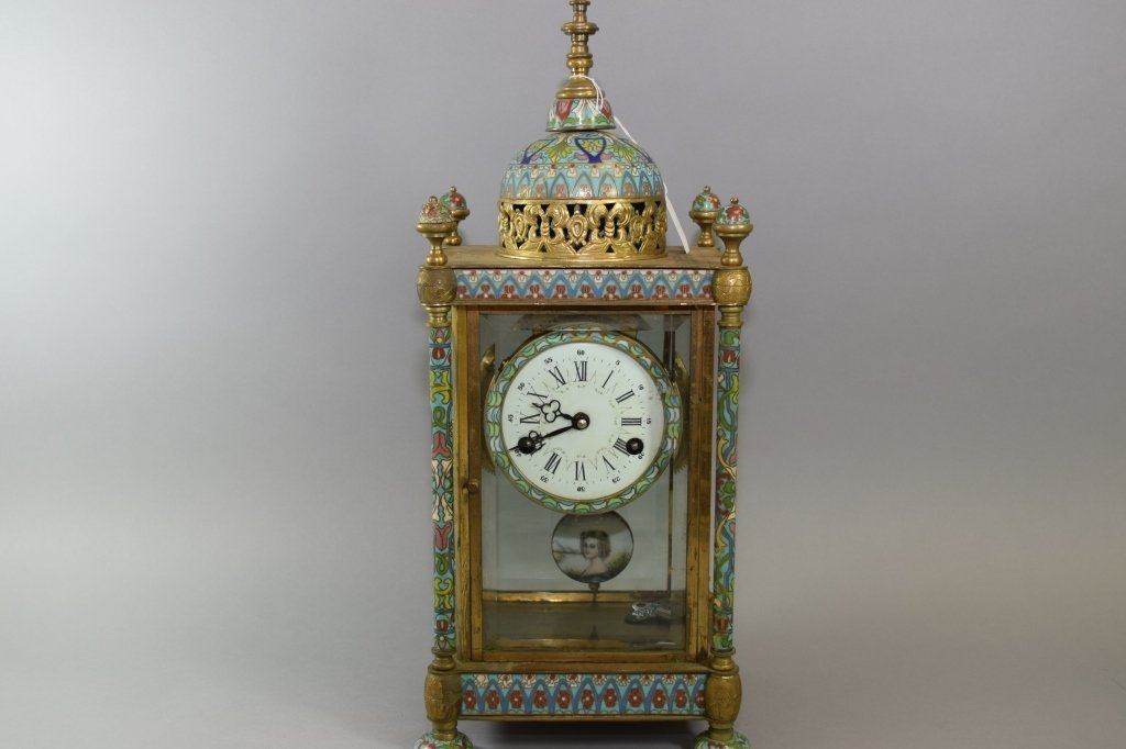 19-20th C. French Made Cloisonne Table Clock