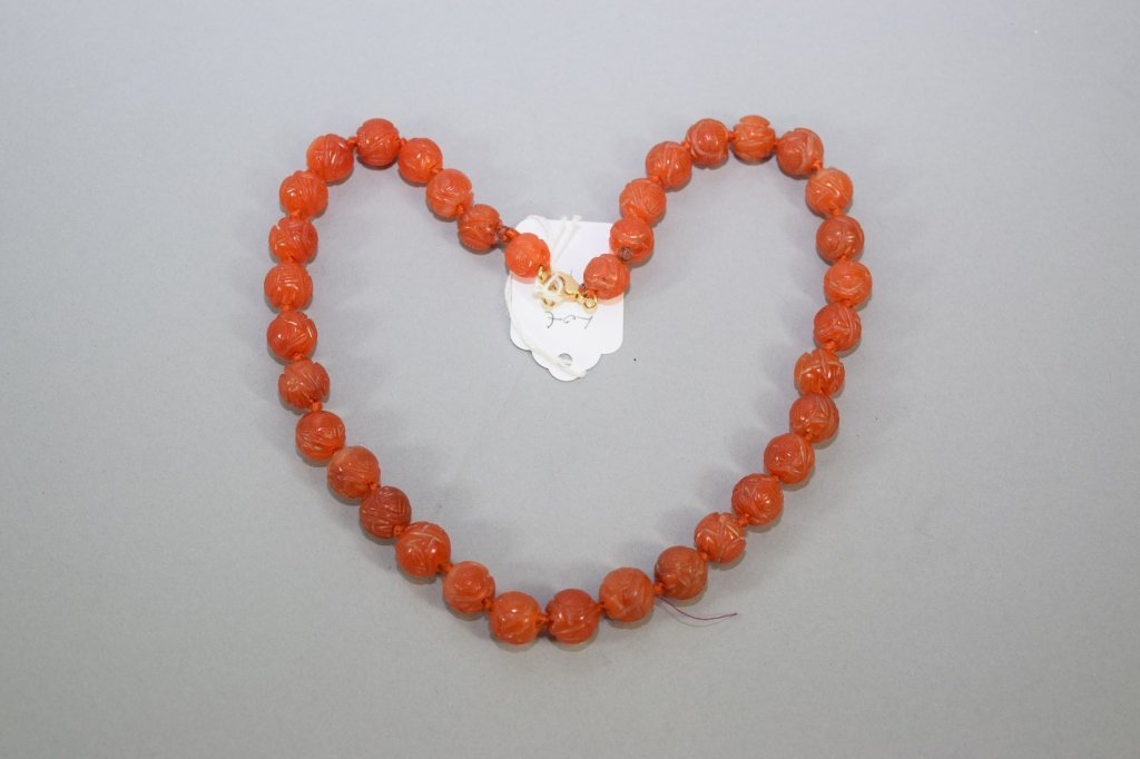 Chinese Agate Carved Longevity Bead Necklace