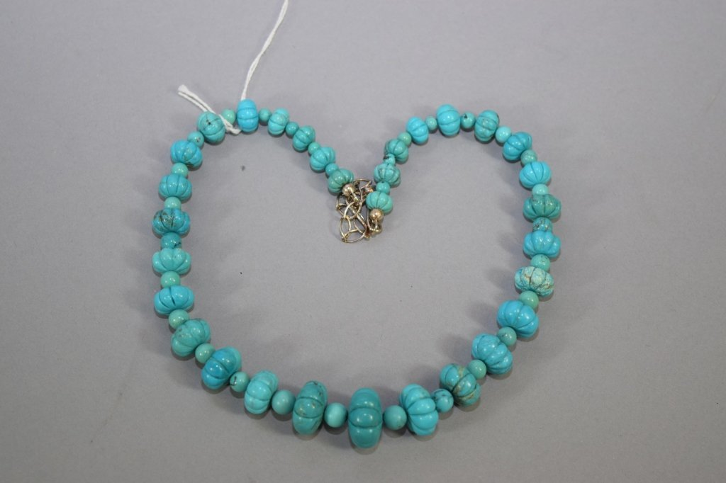 Chinese Natural Sky Blue Melon Bead Necklace