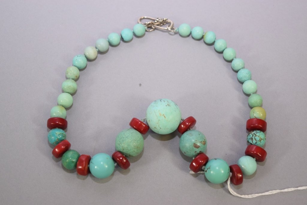 Chinese Natural Turquoise and Coral Necklace