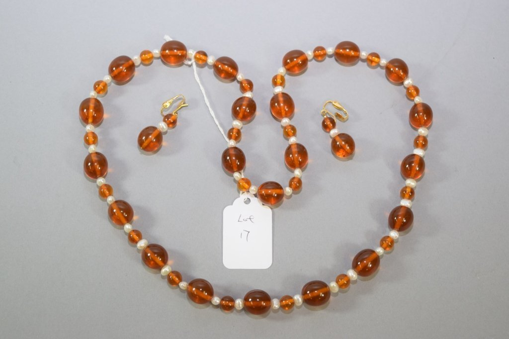 Set of Amber Necklace and Earrings