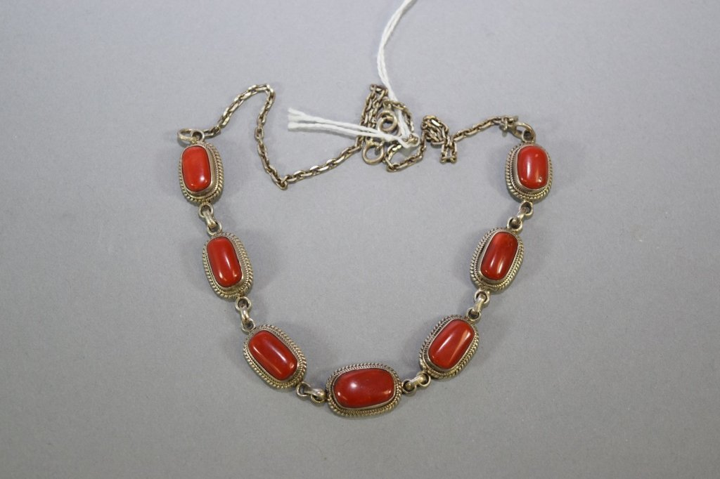 Natural Coral Set in Silver Necklace
