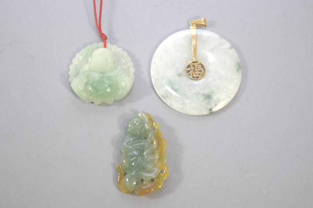 Three Chinese Jadeite Carved Pendants