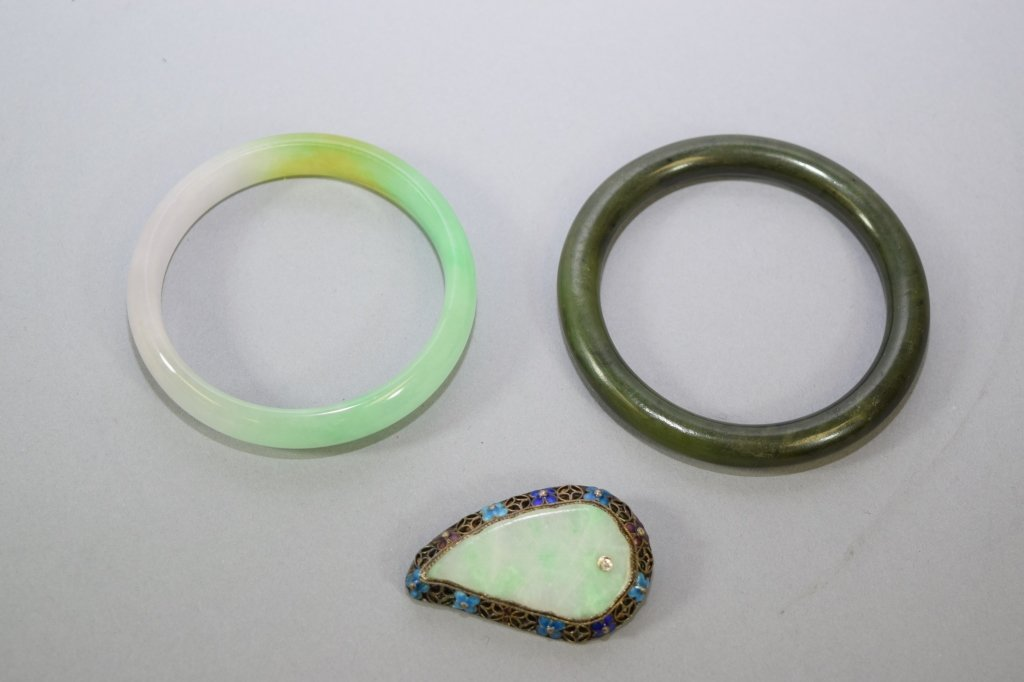 Two Chinese Bangle Bracelet and Jadeite Brooch