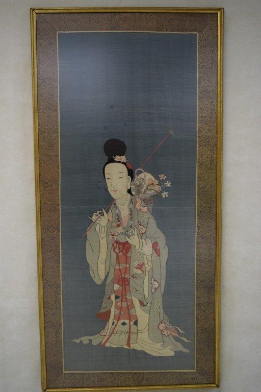 Qing Chinese Kesi of MaGu Carrying Flower Basket
