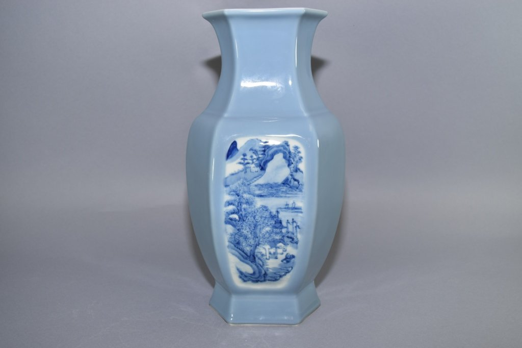 19th-20th C. YongZheng Chinese Blue Glaze B&W Vase