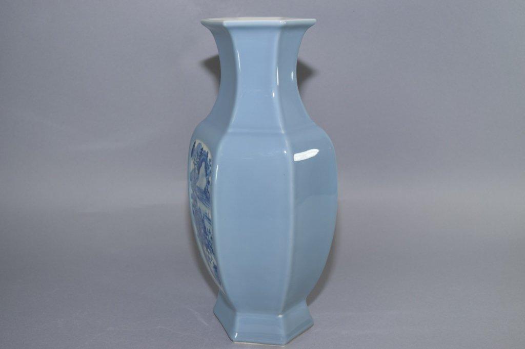 19th-20th C. YongZheng Chinese Blue Glaze B&W Vase - 2