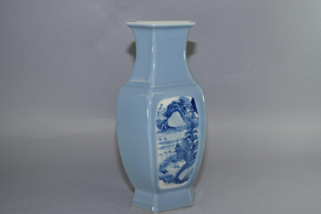19th-20th C. YongZheng Chinese Blue Glaze B&W Vase - 3