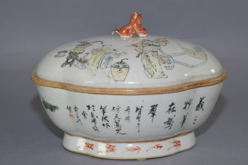 Early Republic Chinese Famille Verte Bowl, Marked